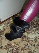 Продам зимние кожаные сапожки с натуральным мехом
