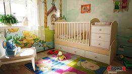 Кровать-трансформер Аванта DREAM (Детская кровать + столик + ящик)
