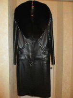 Пальто кожаное трансформер 48 размер