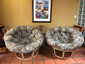 Set Round Cane Chairs with Cushions