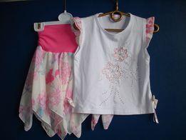 Летний комплект (футболка и юбка) для девочки 5-7 лет