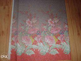 Купонная ткань серая с цветами
