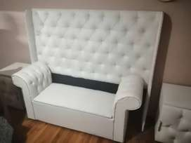White Queen size headboard, 2 white matching pedastals and love chair