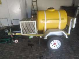 Water Tank Trailer for sale, with generator cage Infront.
