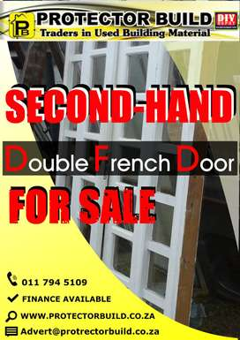 SECOND HAND DOUBLE WOODEN COTTAGE PANE FRENCH DOOR IS FOR SALE
