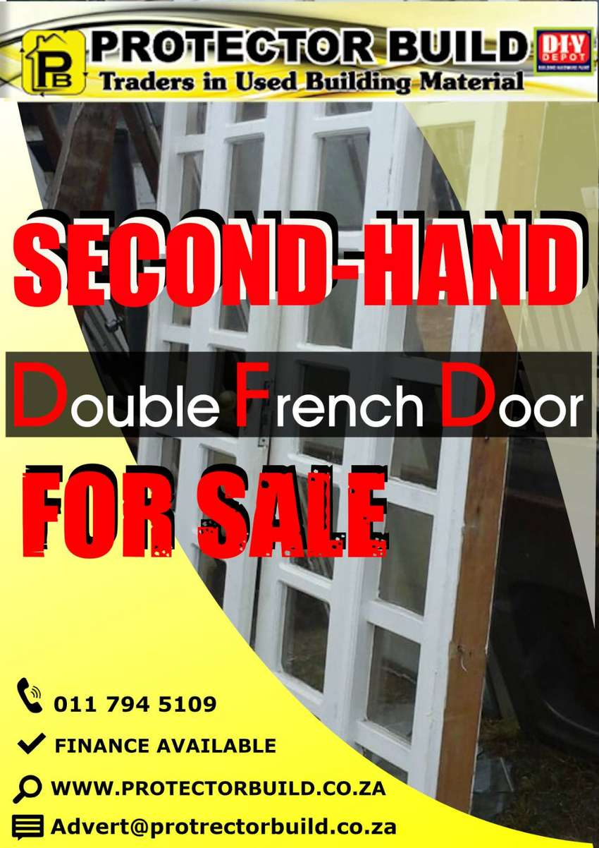 SECOND HAND DOUBLE WOODEN COTTAGE PANE FRENCH DOOR IS FOR SALE 0
