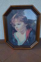 Portret dziecka, piękny obraz,reprodukcja, drewniana rama,jak nowy