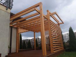 Pergola trejaż zabudowa tarasu konstrukcja drewniana