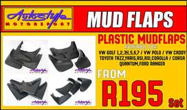 mudflaps set of 4 for most cars, stone guards, plastic and rubber, vw,