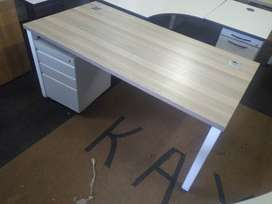 Metal desk with a pedester