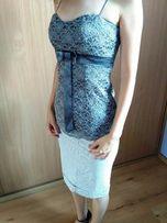 Szaro-Srebrny Koronkowy Gorset rozmiar 34 XS elegancka bluzeczka