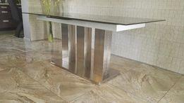 Nowoczesny SZKLANY stół Massimo 180/220x90 autoamt stal szlifowana