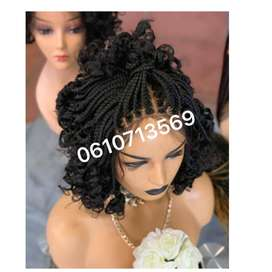 SHORT AND CURLY LACE FRONT BRAID WIG