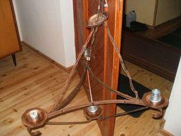 Stary mosiężny żyrandol na 4 żarówki lub świeczki ręczna robota .