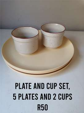 Plate and Cup set and white tray