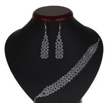 Biżuteria ślubna komplet slubny ślubny wieczorowy posrebrzany crystal