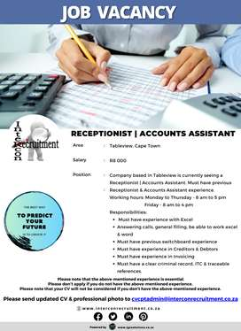 Receptionist   Accounts Assistant - Tableview