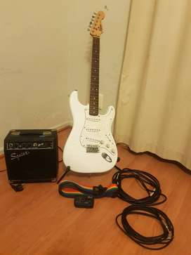 Fender Squier Strat Electric Guitar + Amp + Stand