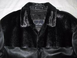 """Кожаное пальто """"LePelle"""", с подстёжкой из меха кролика."""