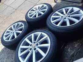 A set of polo TSI mags and tyres in a very good condition