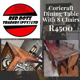 Coricraft Table with 8 chairs