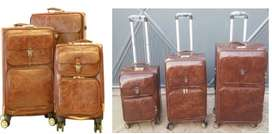 Brand New! 3 Piece Leather luggage bags, Travel Trolley Bags
