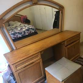 Double bed wooden headboard , dressing table and storage stool