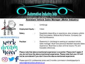 Assistant Vehicle Sales Manager (Motor Industry) - Umhlanga