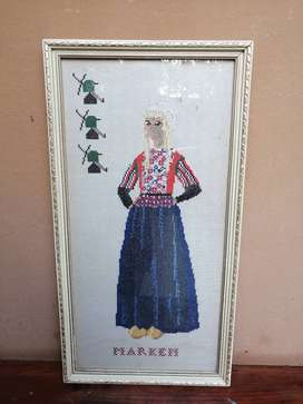 Really old framed Holland embroidery.