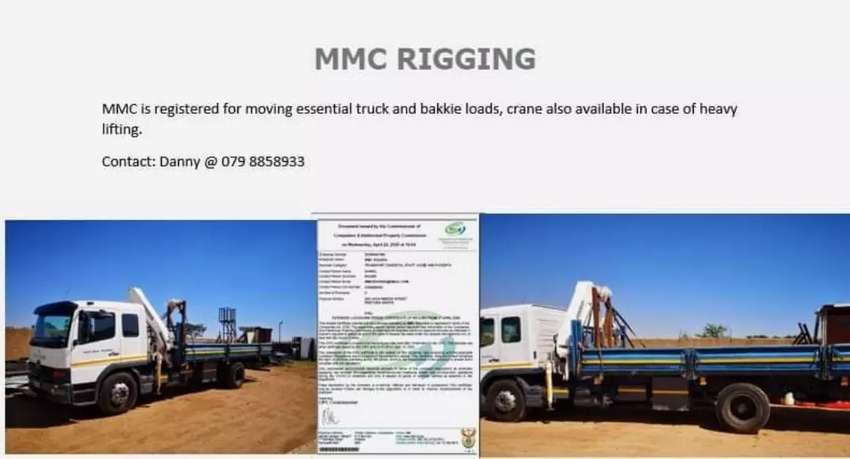 MMC RIGGING. All loads and crane assistance up to 6.1ton. 0