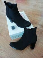 Buty botki czarne zamszowe na słupku r. 38