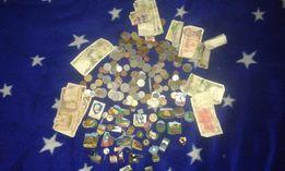 Monety 180sz,banknoty14sz,odznaki turystyczne 50szt