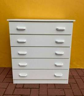 White Melamine Chest of Drawers for Sale!