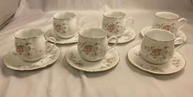 Italian Espresso Coffee Cups and Saucers Set