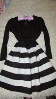 Платье черно белое Сукня Женская одежда Женское платье одяг наряд