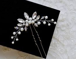 Kokówka ślubna, ozdoba do włosów, kryształowa wpinka, perły