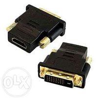 Переходник DVI-D 24+1(папа) -> HDMI(мама), позолота