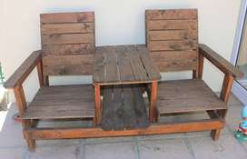 Outside Garden Wooden Table and chair For Sale