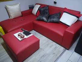 L shape Red couch and ottoman