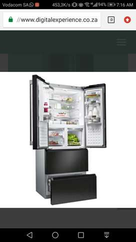 SIEMENS BLACK GLASS FRENCH DOOR FRIDGE FREEZER