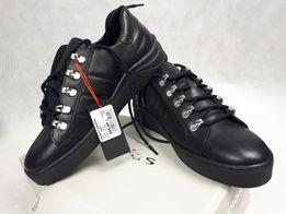 Nowe pólbuty WOJAS sneakersy czarne skóra naturalna licowa 38