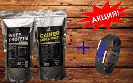 АКЦИЯ!!! Протеин 2 кг+ Гейнер 2 кг+ LED часы. Выгодная цена