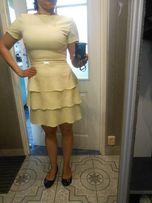 Sukienka jasna żółta rozm.38, stan idealna WESELE CHRZCINY