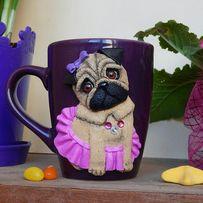Подарки для любимых!Чашки с декором из полимерной глины!