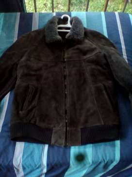 Leather jacket with fur inner lining