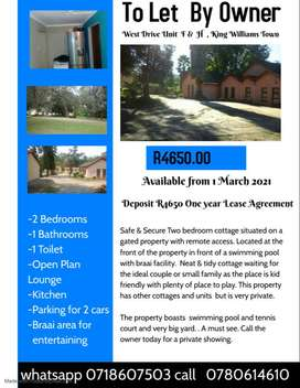 One and Two bedroom cottage King Williams Town R2990 R4650 1st March 2