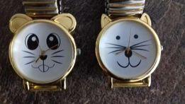 2 zegarki zegarek kotek i myszka