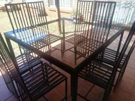 Square steel dining set. 8 Seater