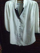 Блузка, на гудзиках, жіноча, колір - білий (комір - чорний), бавовна