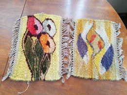 Gobelin kilim mały ręczna robota kwiaty 30x20 ptaszki 27x20